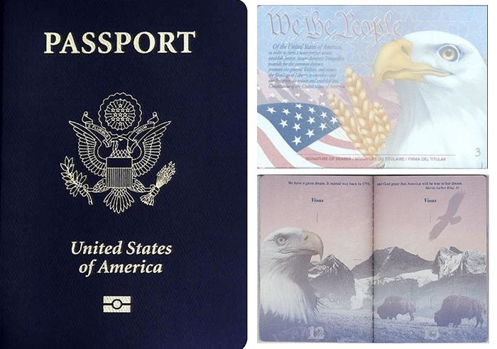 미국 여권 표지와 속지